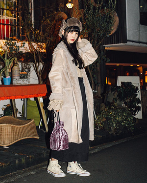 【#スナップ_fs】 Name大石楓夏  Coat#ASKNOWASPINKY Shirt#used Skirt#used Bag#ASKNOWASPINKY Shoes#...