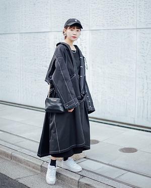 【#スナップ_fs】 Name:弓祇乃  Coat#DISCOVERED Knitwear#GU Pants#HARE Bag#MICHAELKORS Shoes#nike...